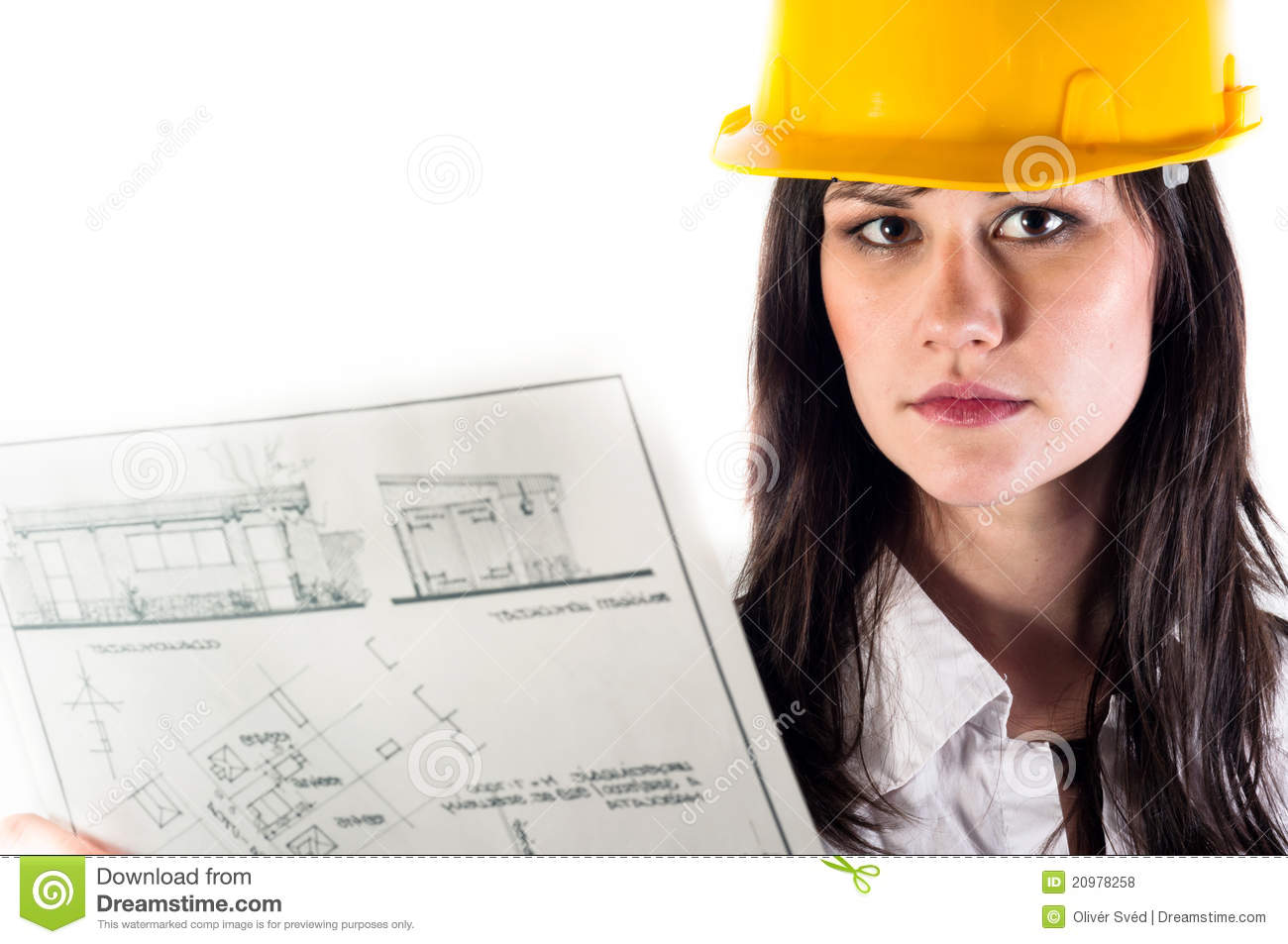d63e6c7846c Pretty business woman in yellow helmet and her plans