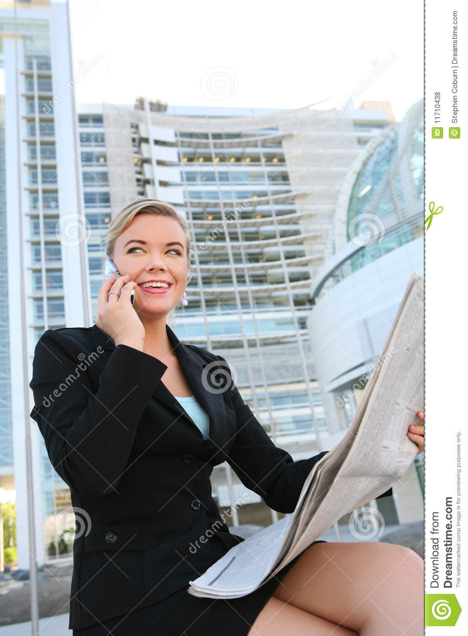Pretty Business Woman Reading Newspaper Stock Photo ...