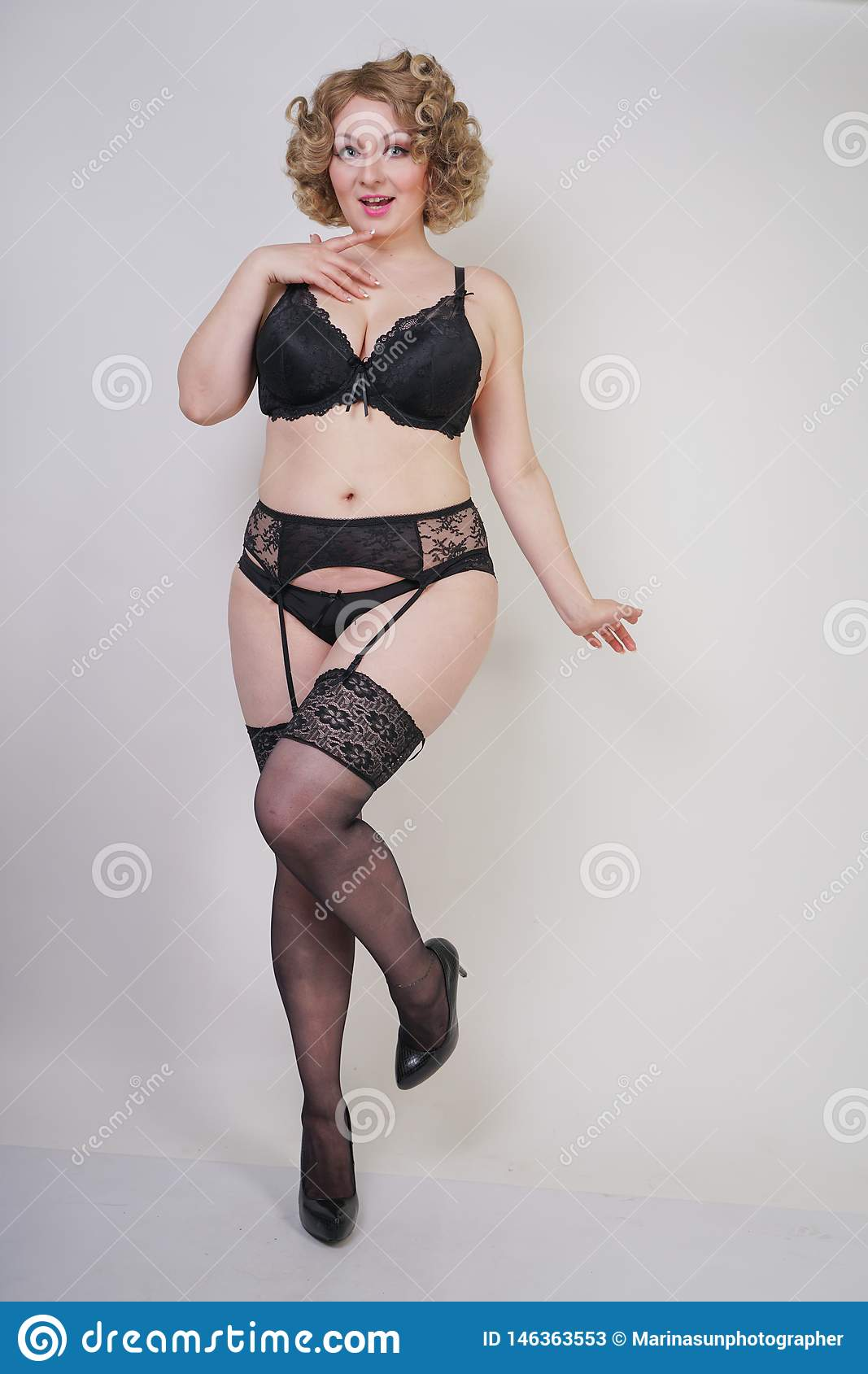 Mature chubby women in lingerie Pretty Caucasian Chubby Woman With Plus Size Body And Pale Skin Wearing Black Sexy Underwear With Stockings And Garterbelt On Whit Stock Photo 146363553 Megapixl