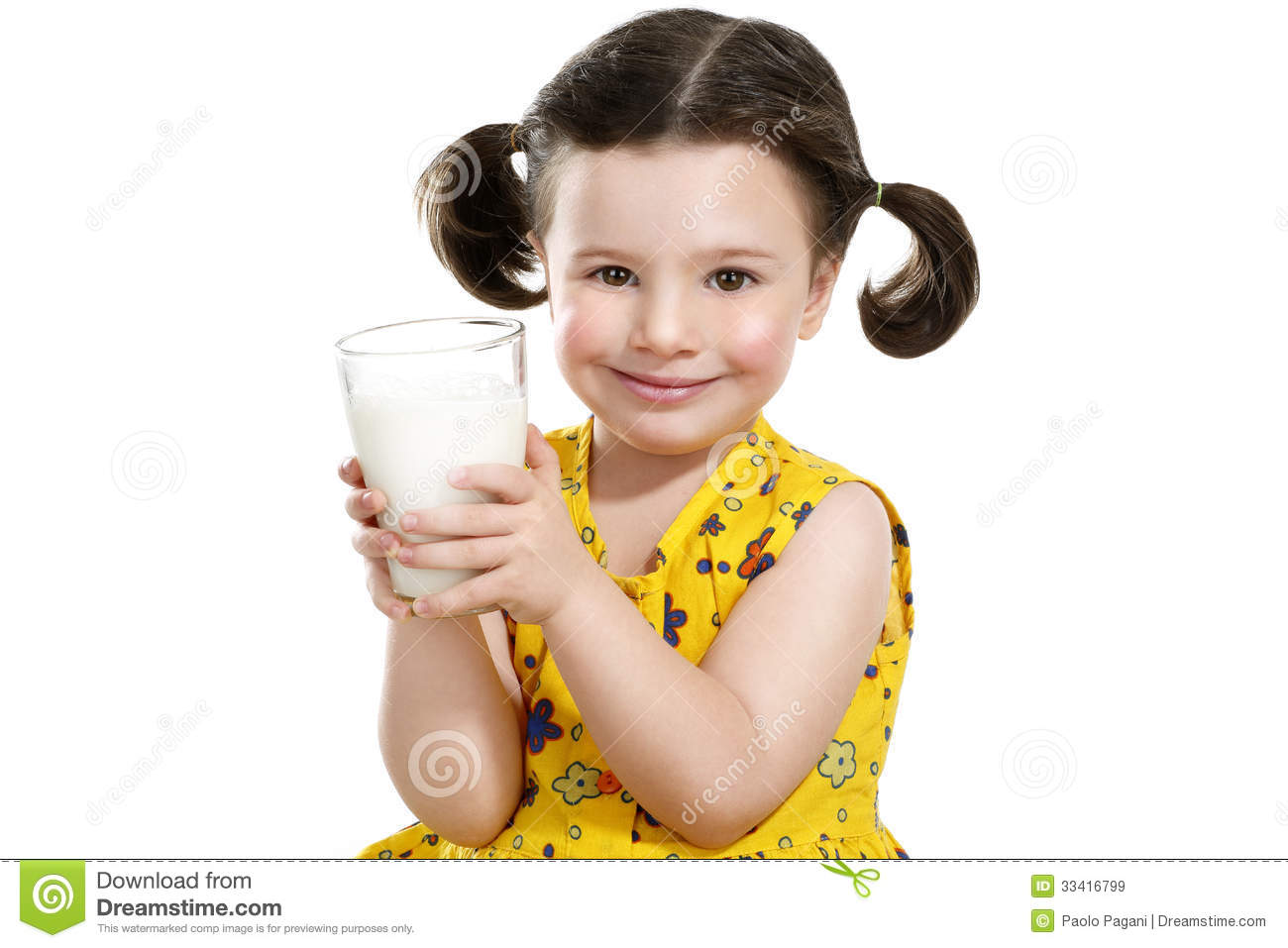Pretty Child Holding A Big Glass Of Milk Stock Image ...