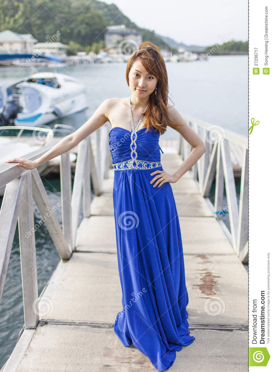 Pretty Chinese Girl With Blue Full Dress Royalty Free Stock ...