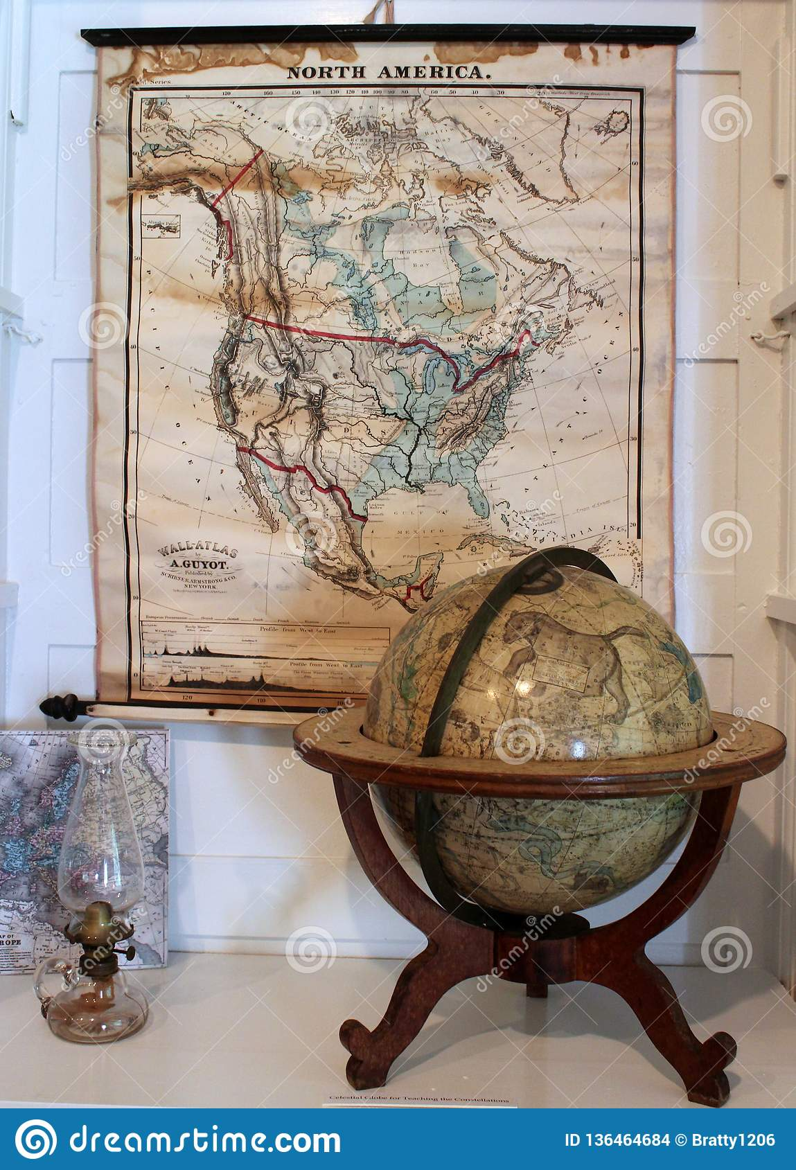 Maps and globes with other historic items depicting life and inventions at Oneida Community Mansion House, Oneida New York, 2018