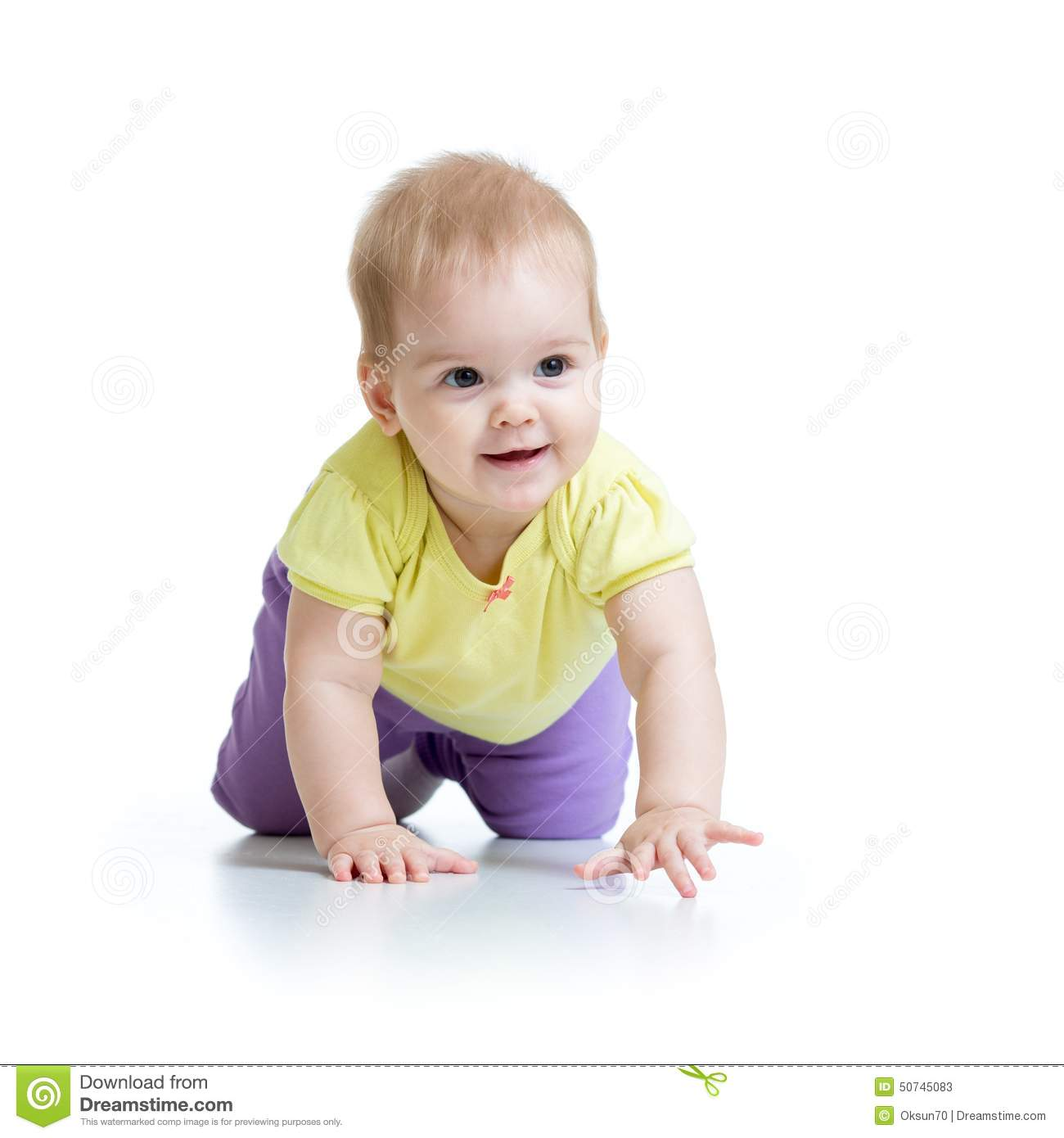 Pretty crawling baby on white