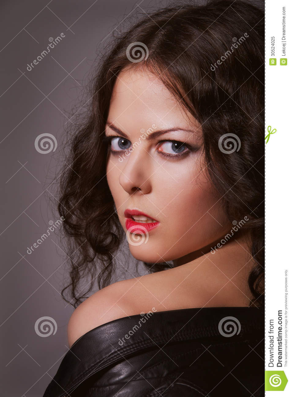 dc1952df8 Pretty curly brunette stock image. Image of femininity - 30524025