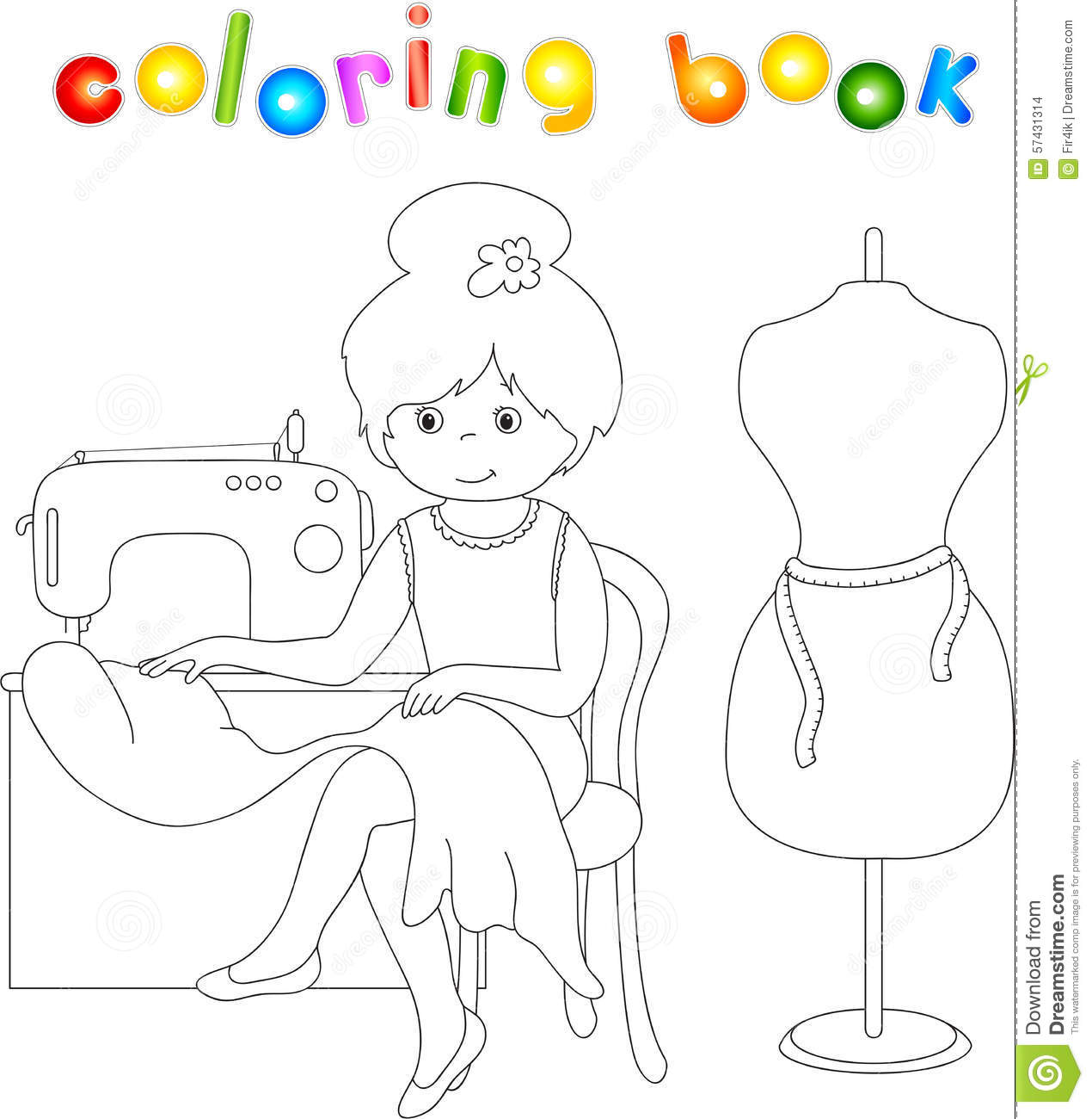 Anatomy coloring book for health professions - Pretty Cute Seamstress Is Sitting At The Sewing Machine Stock Images