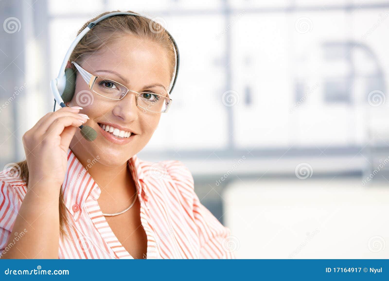 Pretty dispatcher working smiling