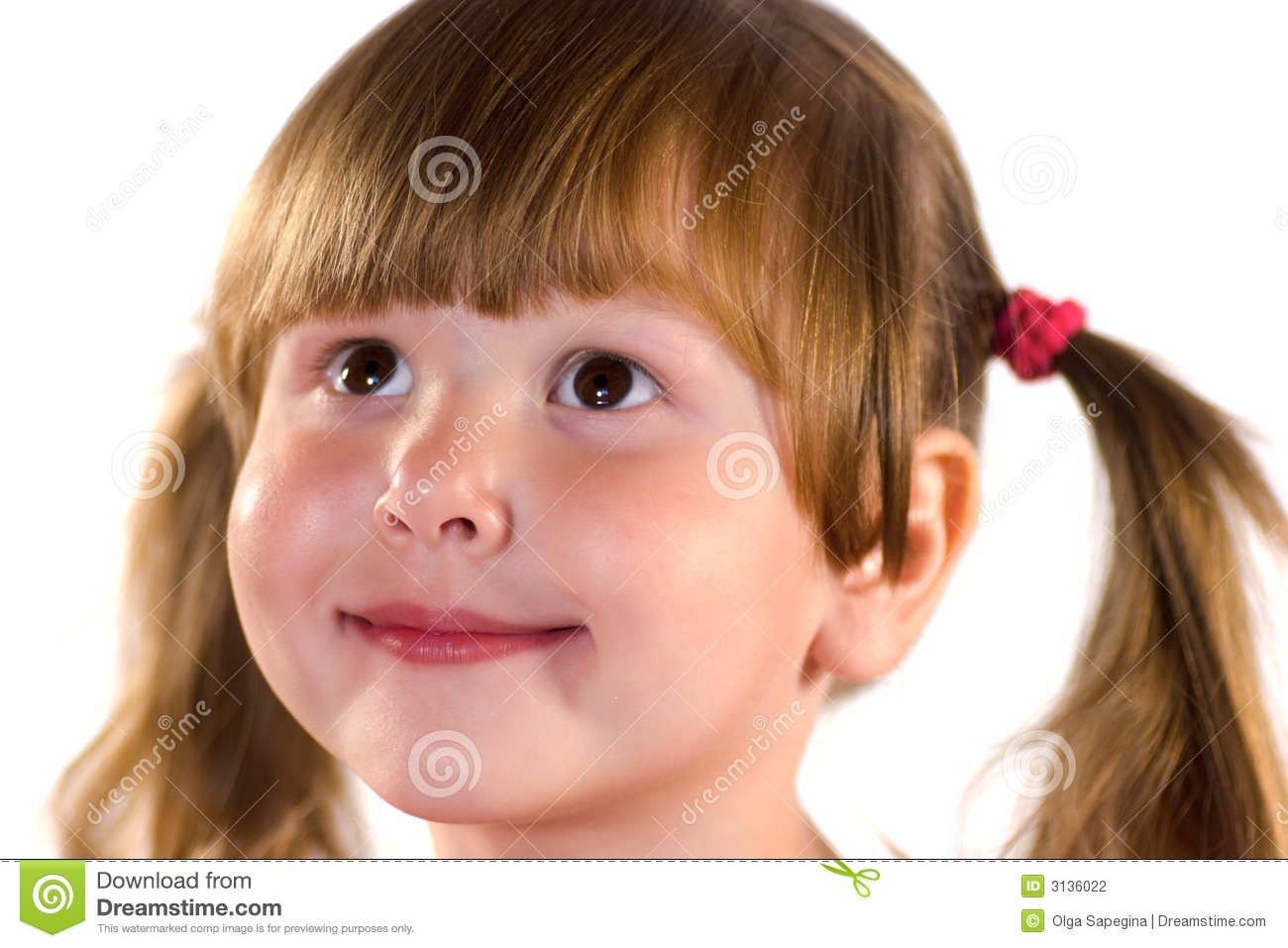 Download Pretty Dreaming Little Girl Stock Photo - Image of happy, cute: 3136022