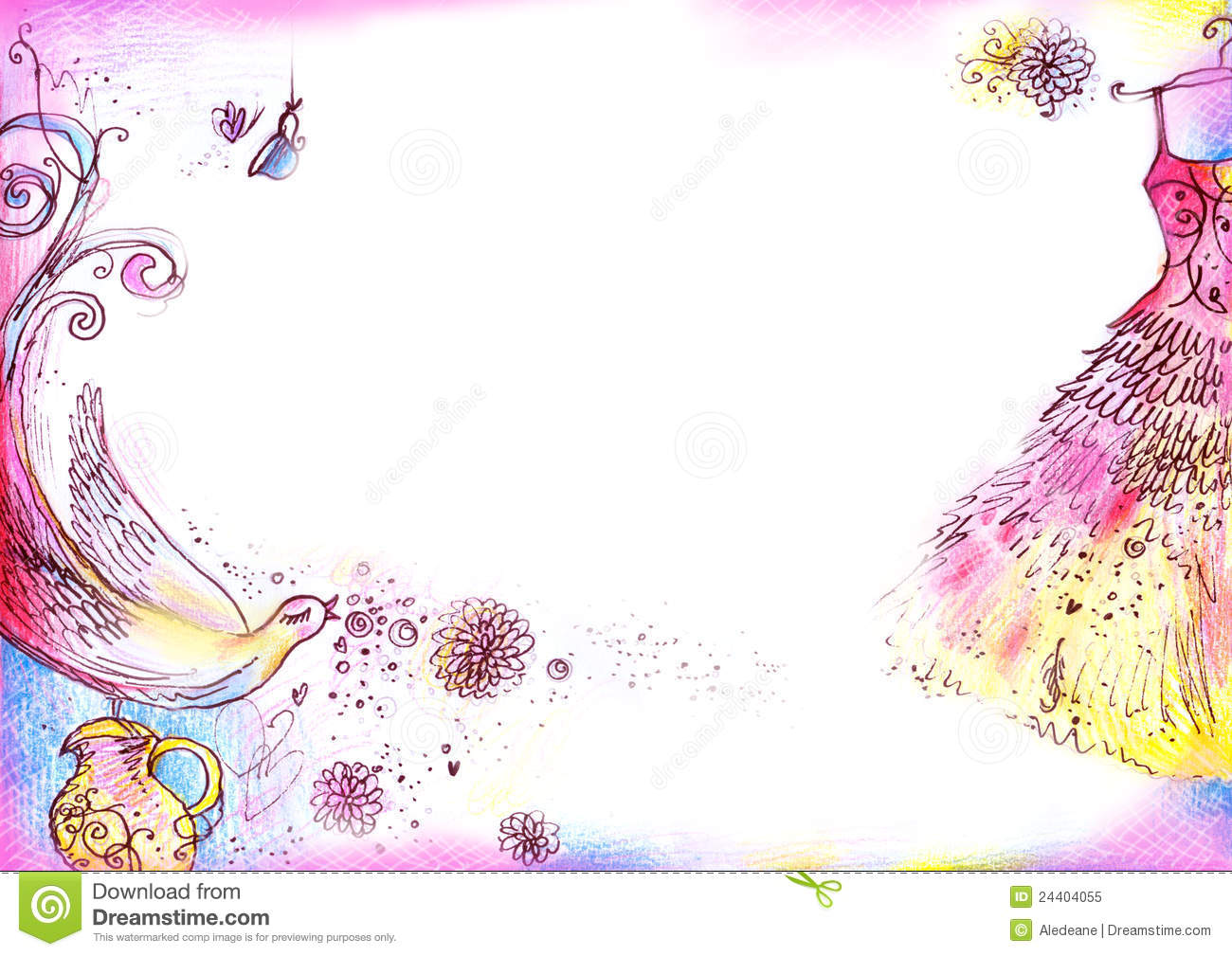 A4 sized background with whimsical romantic drawings created with