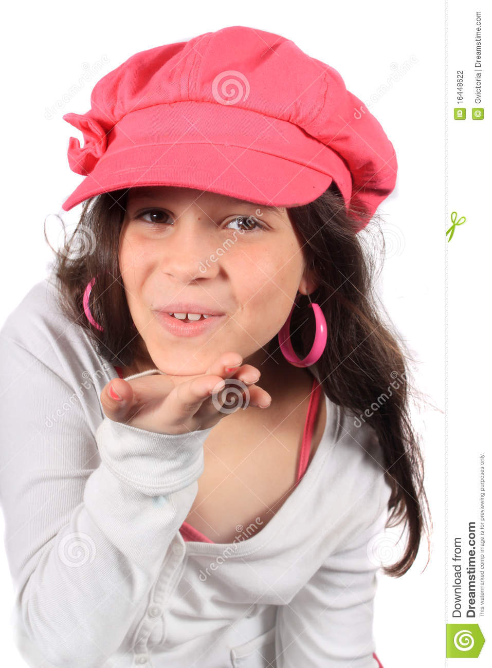 Pretty Eight Year Old Girl Blowing Kiss Stock Photography