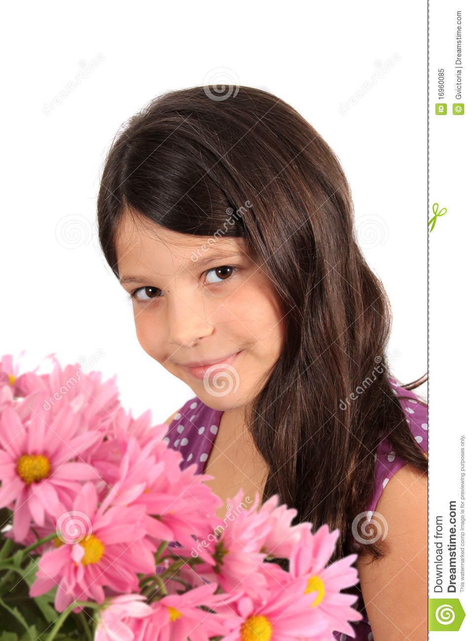 Pretty Eight Year Old Girl With Flowers Royalty Free Stock
