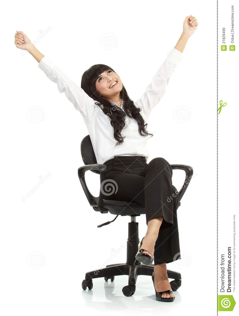 pretty excited young woman sitting on chair royalty free stock images