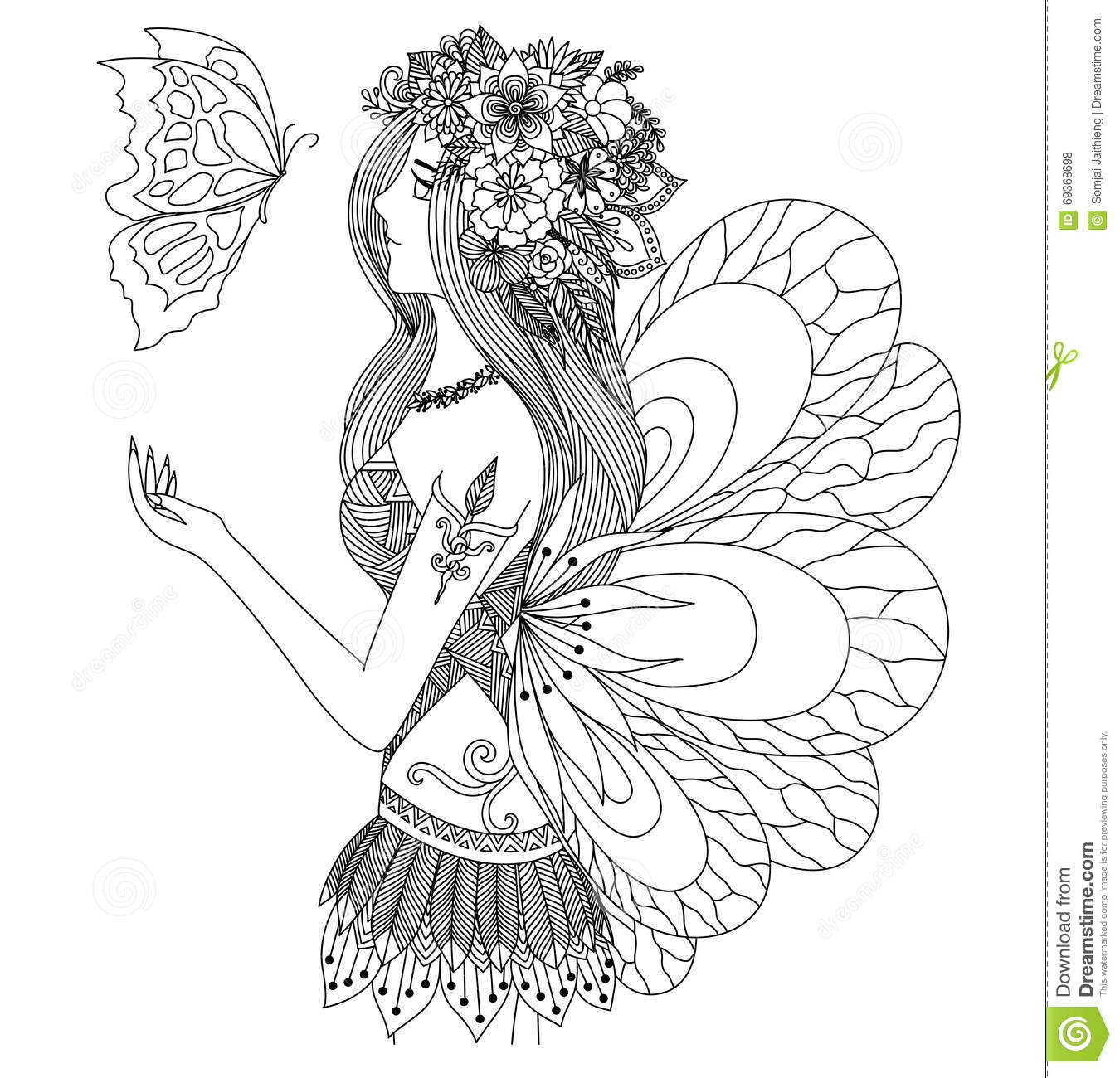 Pretty Fairy Girl Looking At Flying Butterfly Design For