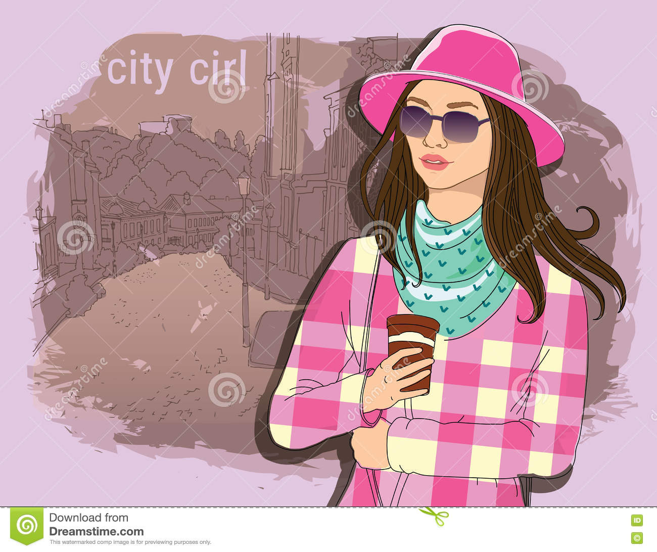 Pretty Fashion Girl In Sketch Style On A Street Town Background Vector Illustrator Hand Draw