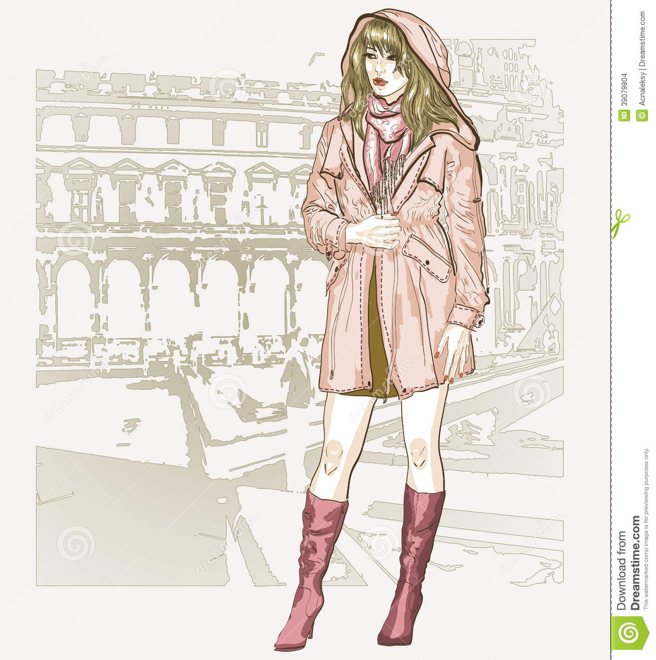 Pretty Fashion Girl In Sketch Style Stock Vector Image