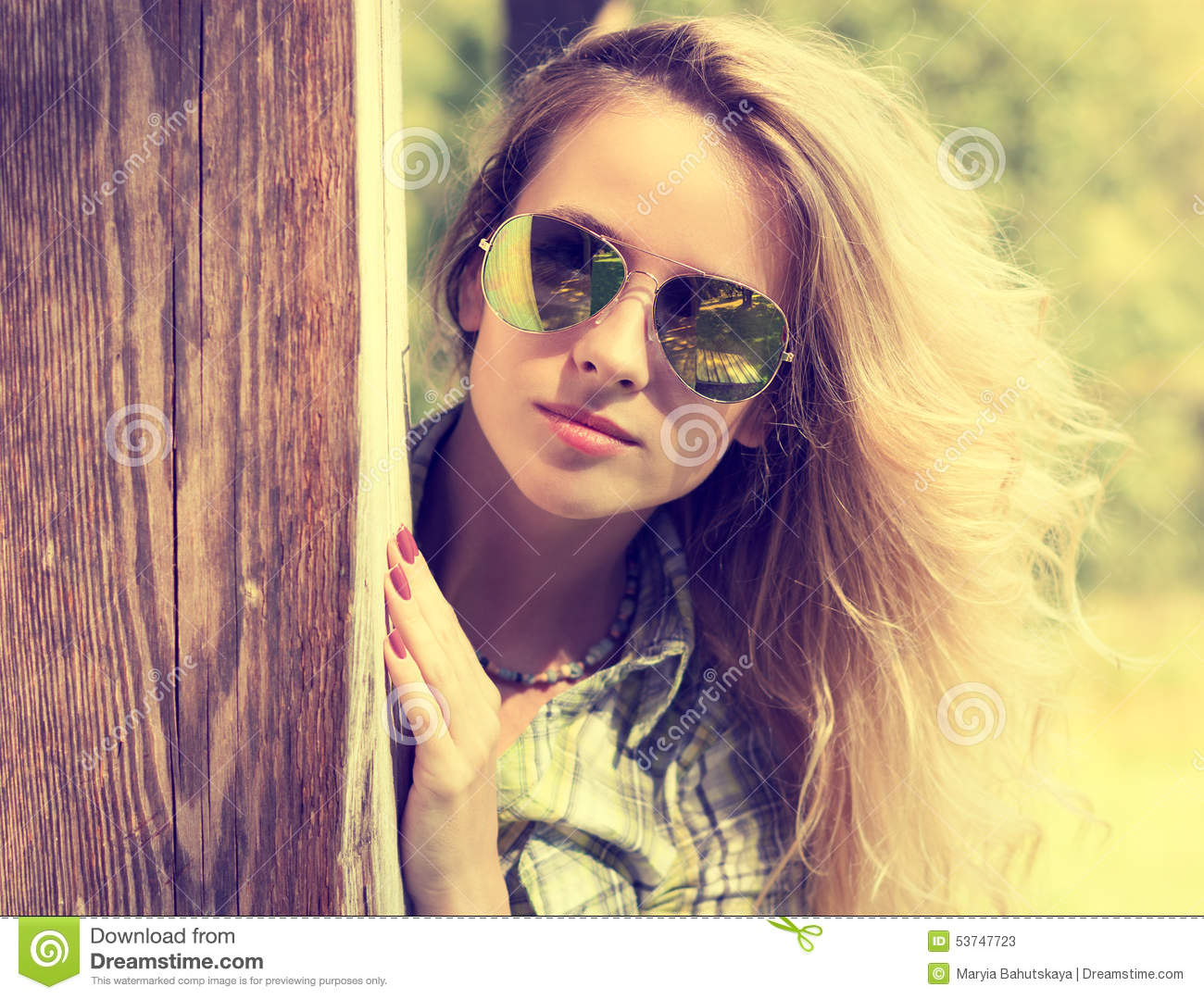Pretty Fashion Hipster Girl In Glasses Peeking Stock Photo Image 53747723