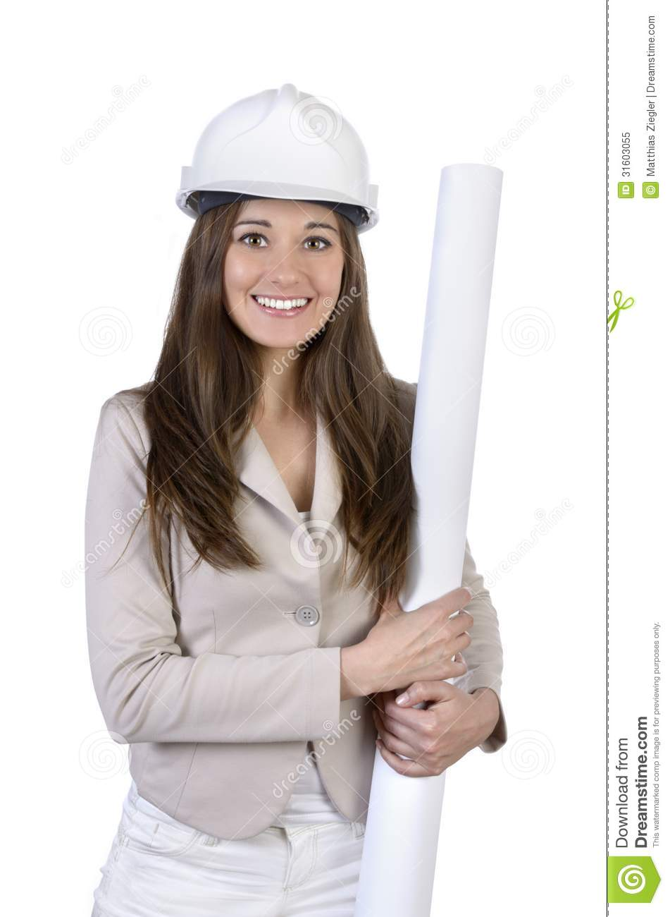Pretty Female Architect With Hard Hat And Plan Royalty