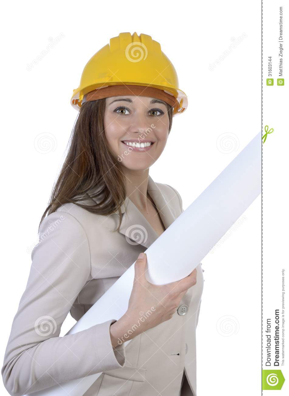 Pretty Female Architect With Hard Hat And Plan Stock