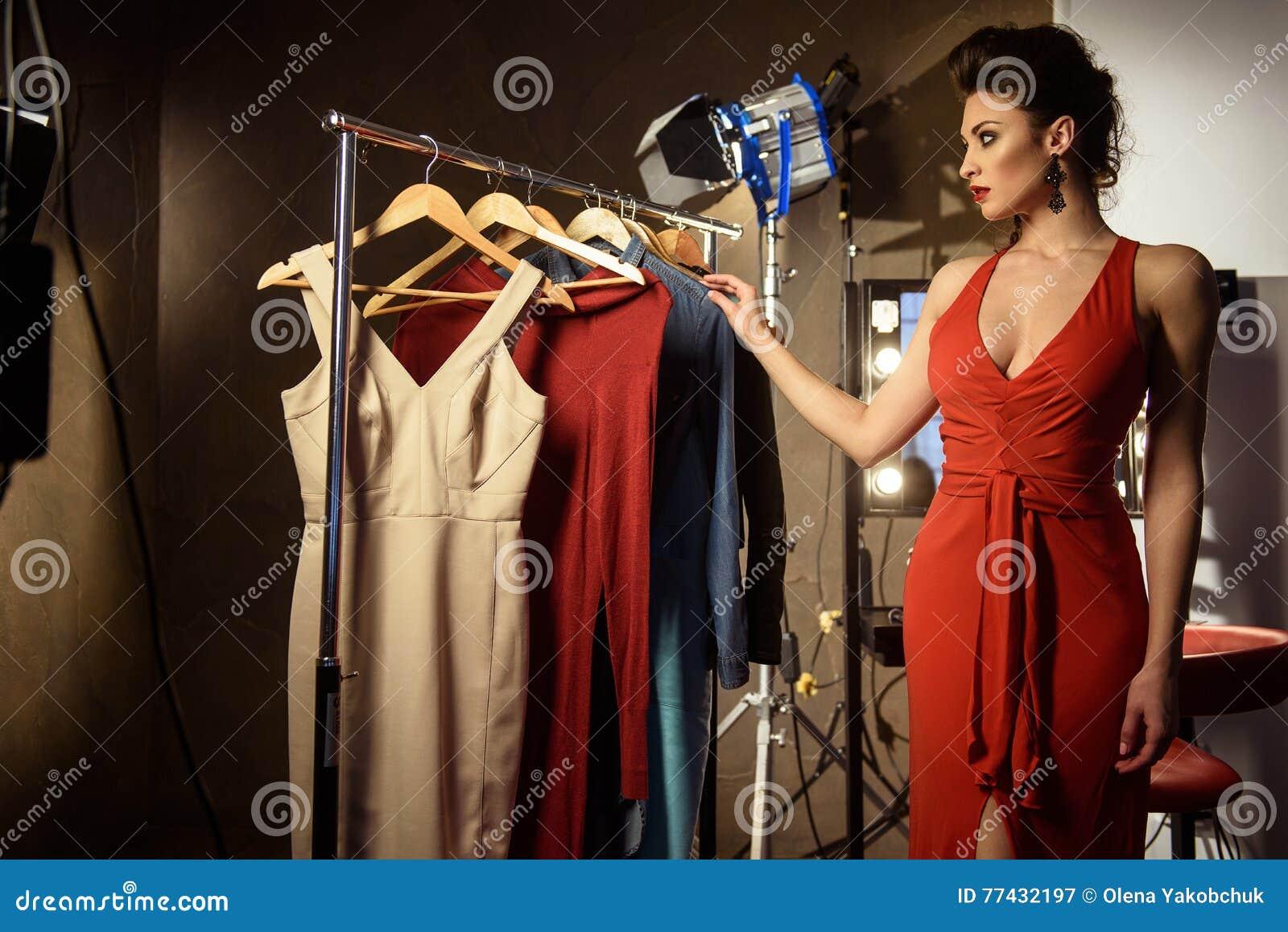Pretty Female Model In Dressing Room Stock Photo - Image: 77432197