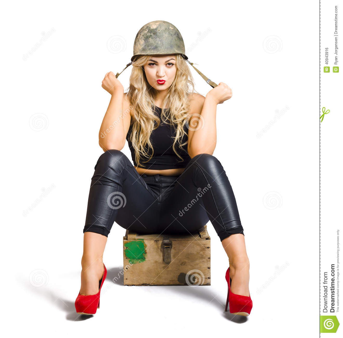 Pretty Female Pin Up Soldier On White Background Stock