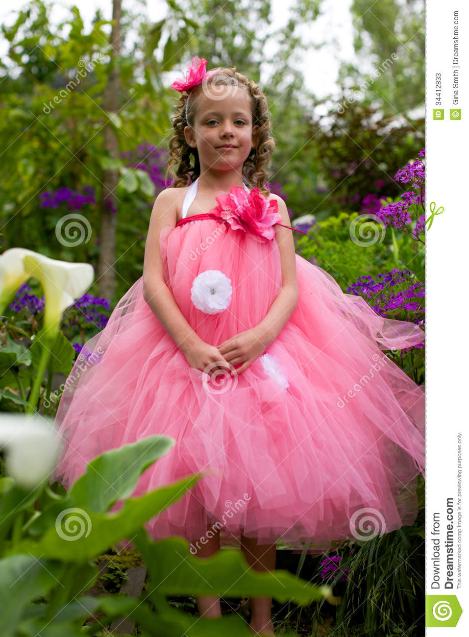 Pretty Flower Girl Stock Image Image Of Charming Adorable 34412833