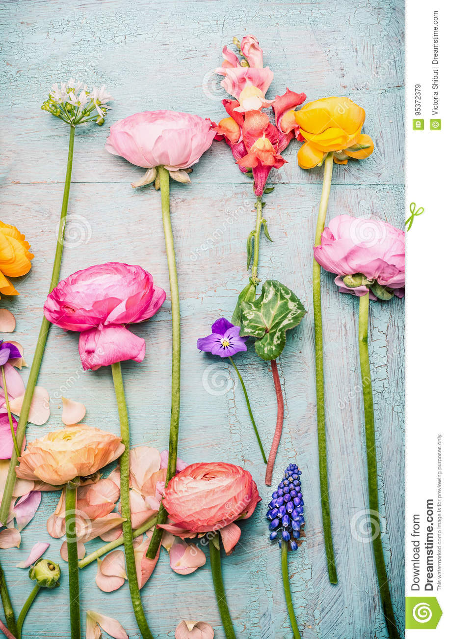 Pretty Flowers On Shabby Chic Background Stock Image Image Of