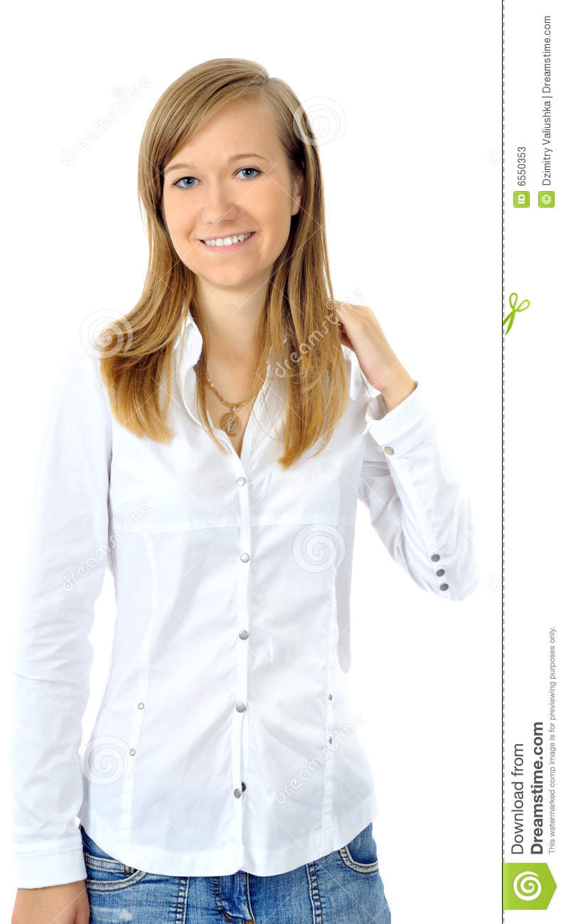 Young Woman In White T Shirt With Braids Waving Her Hair