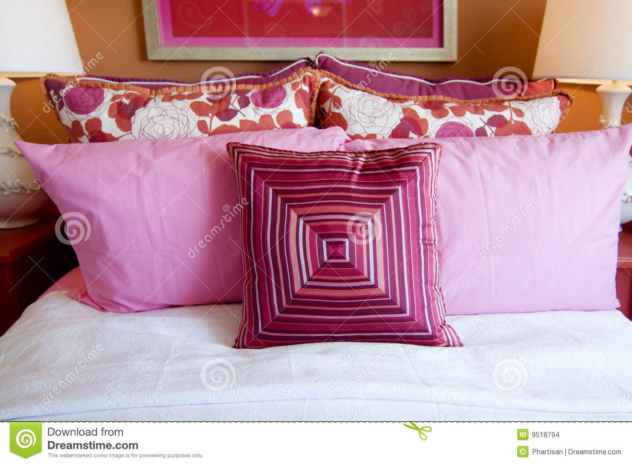 Pretty Fun Pink Bedroom Cushions Stock Photo - Image of ...