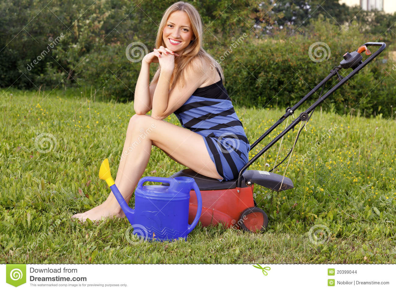 Mine very naked woman on riding lawnmower