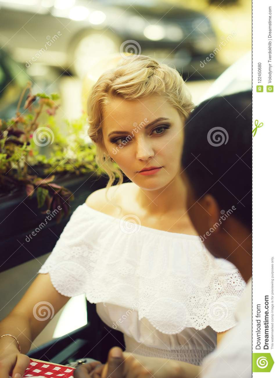 Pretty Girl Looks At Man Stock Photo Image Of Woman 122450680
