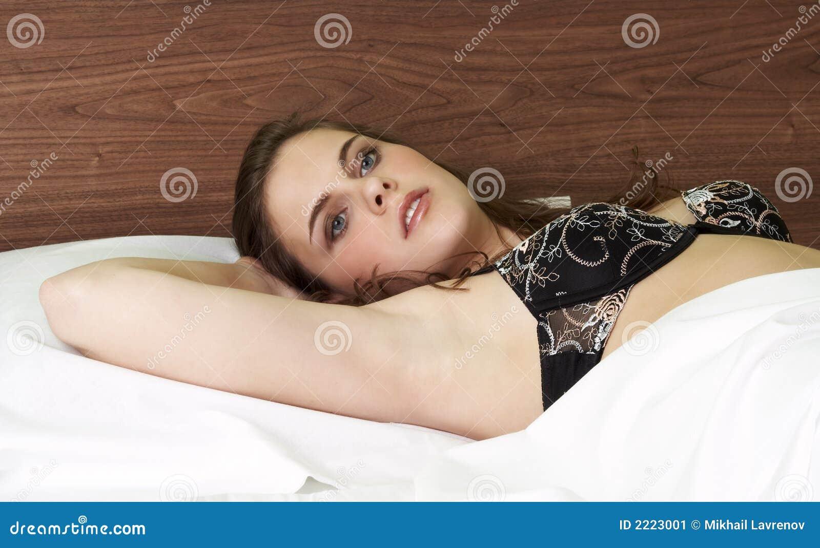 pretty girl in bed stock image image 2223001. Black Bedroom Furniture Sets. Home Design Ideas
