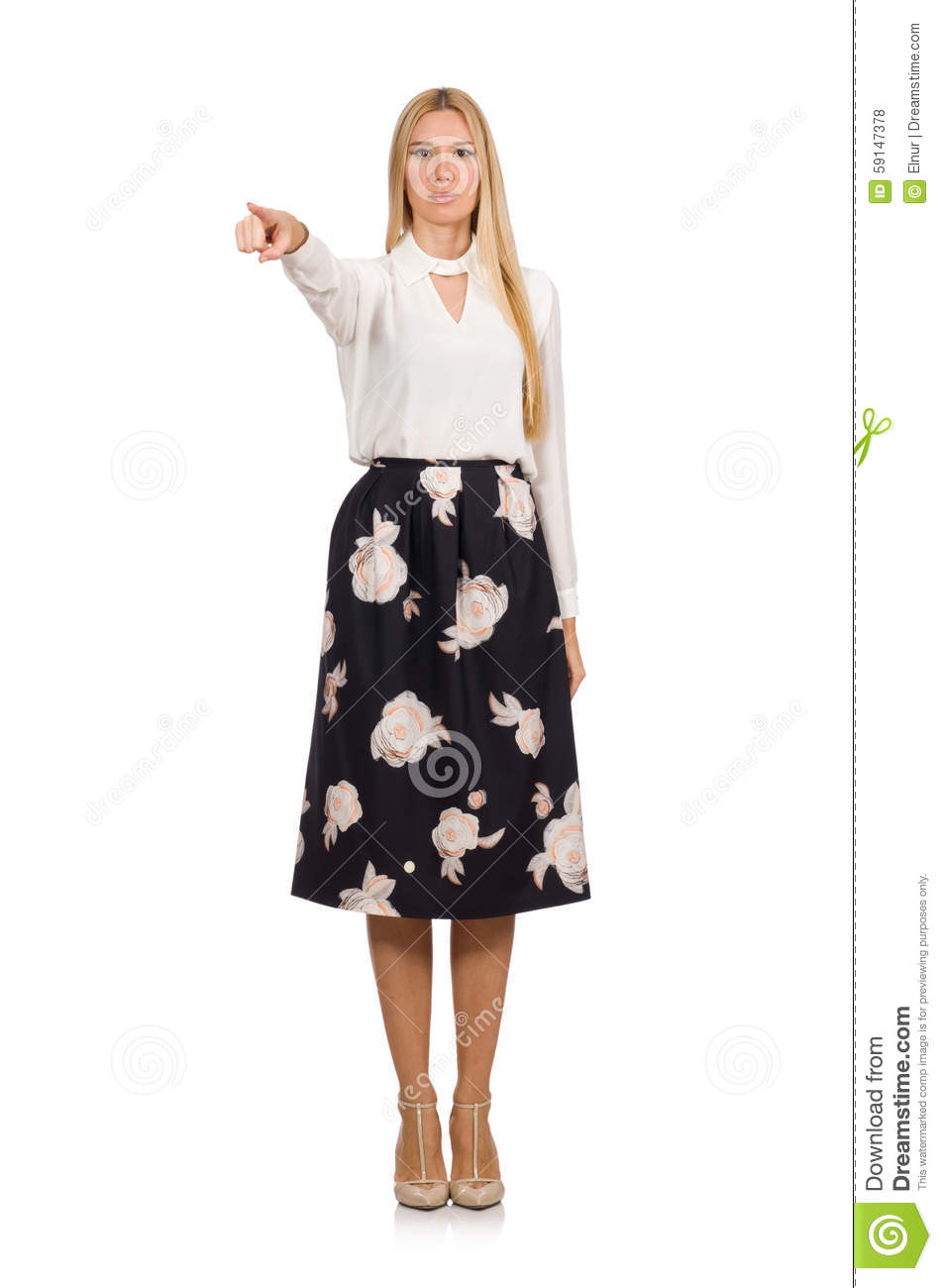 Pretty Girl In Black Skirt With Flowers Isolated Stock Photo Image