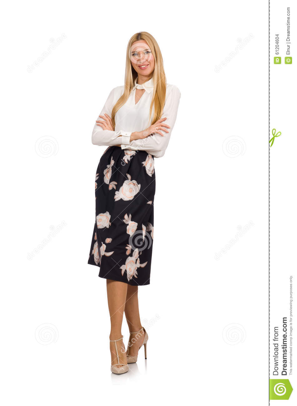 The Pretty Girl In Black Skirt With Flowers Stock Photo Image Of
