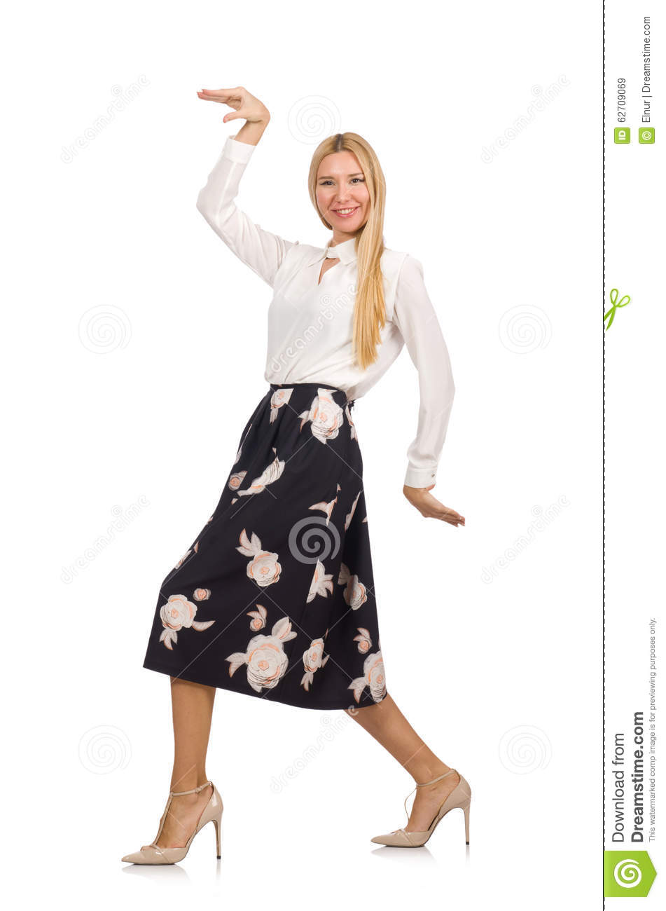 Pretty Girl In Black Skirt With Flowers Isolated Stock Image Image