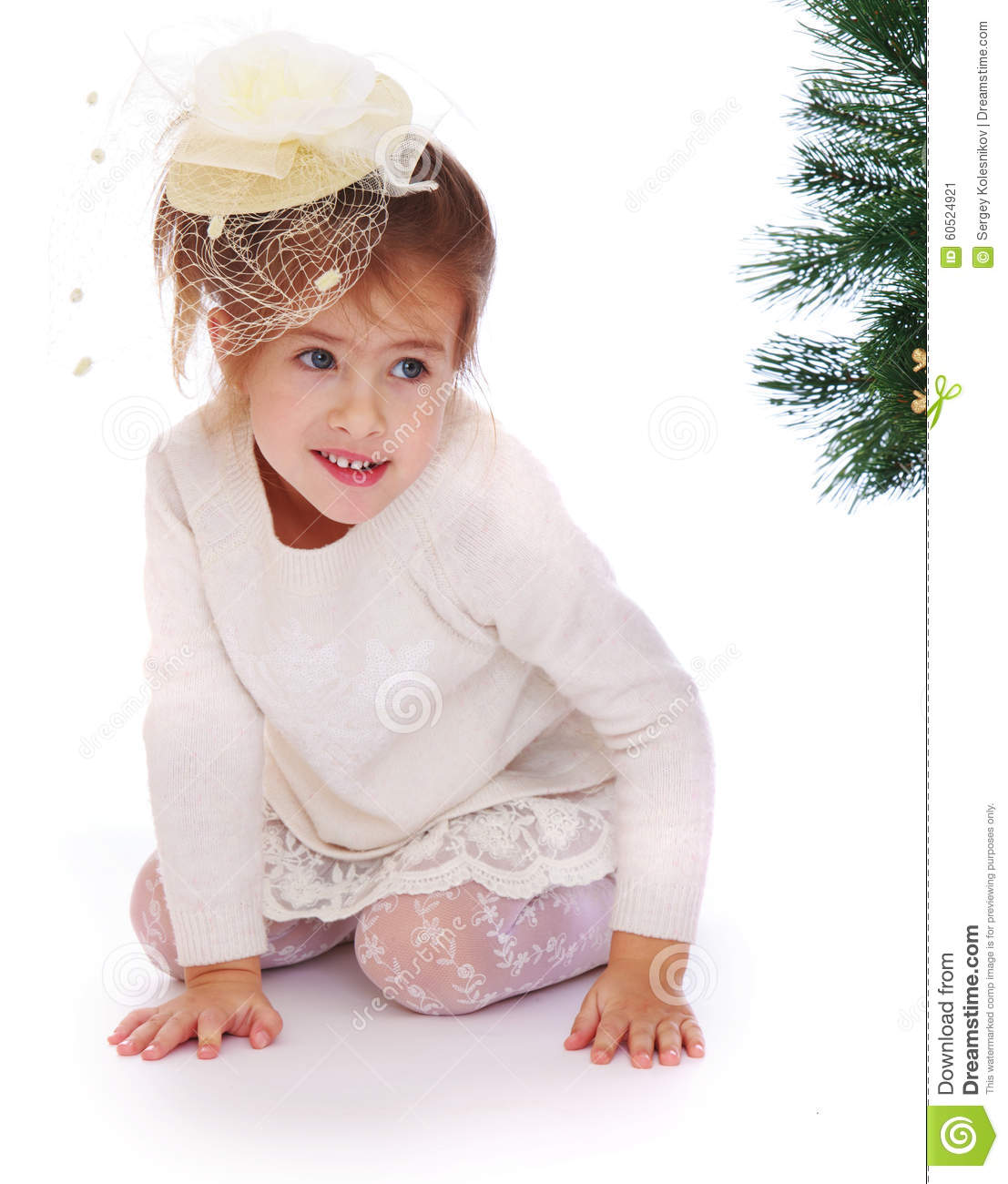 Little Girl Christmas Tree: Pretty Girl In A Christmas Tree Stock Image