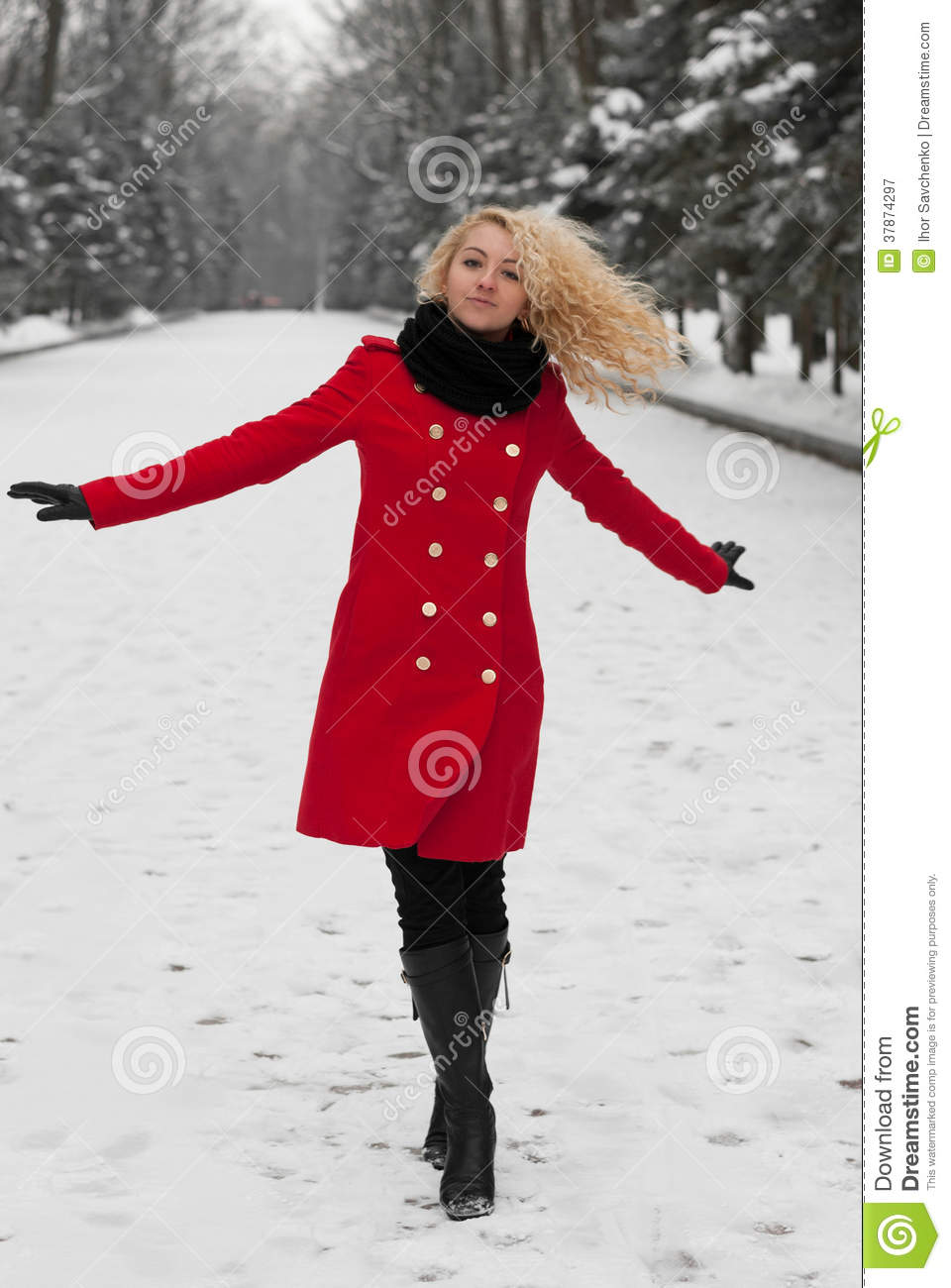 732716d46 Pretty Girl Is Dancing In The Snow Stock Image - Image of natural ...