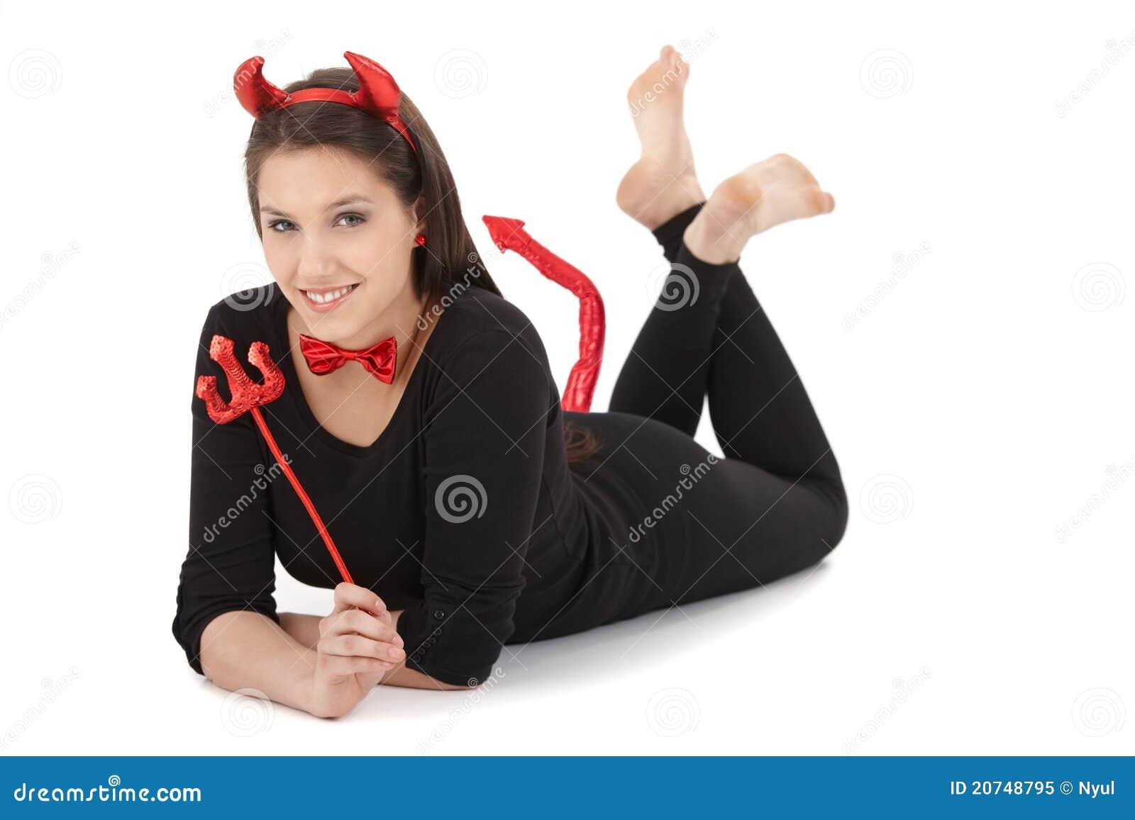 Pretty Girl In Devil Costume Smiling Royalty Free Stock