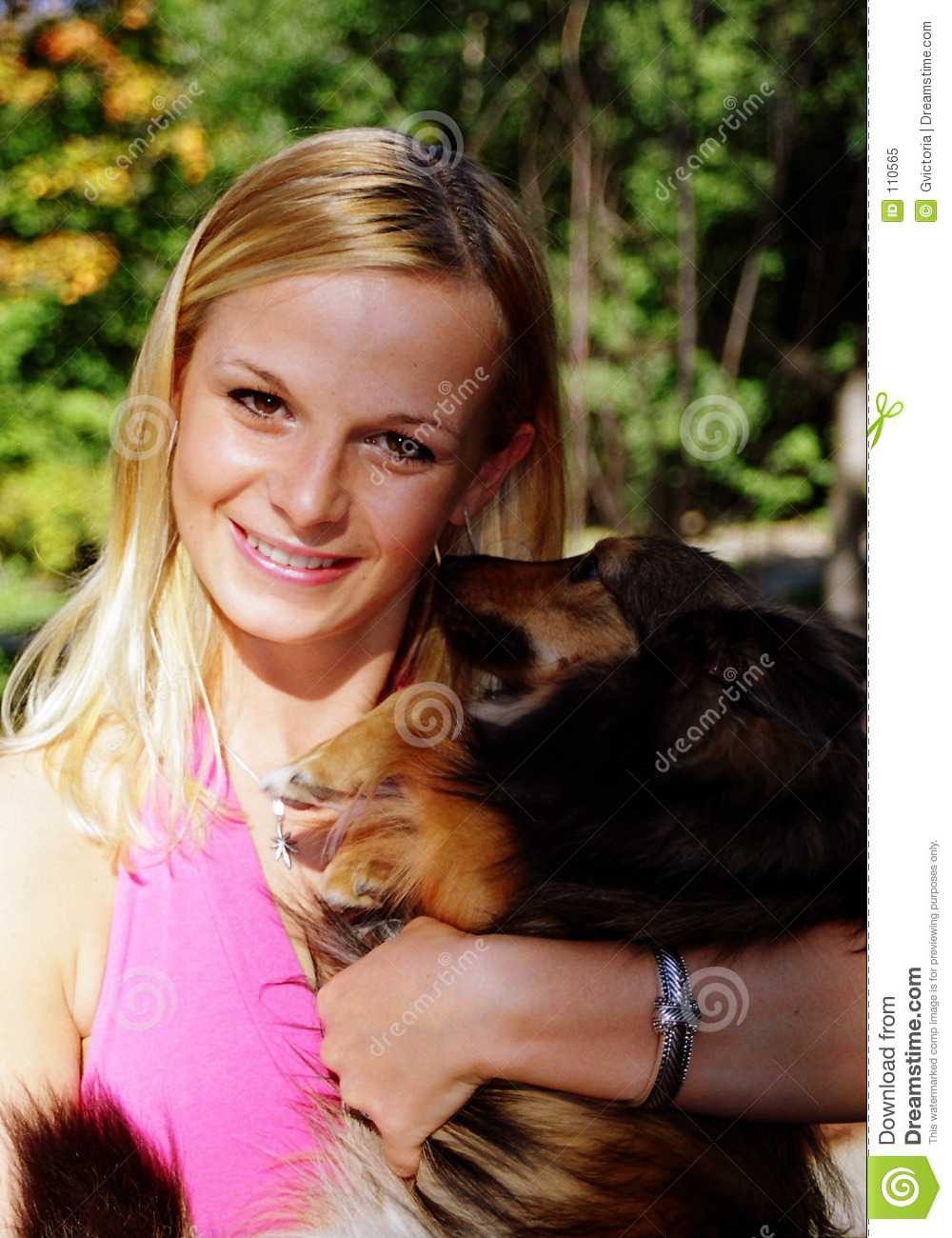 Pretty girl and dog