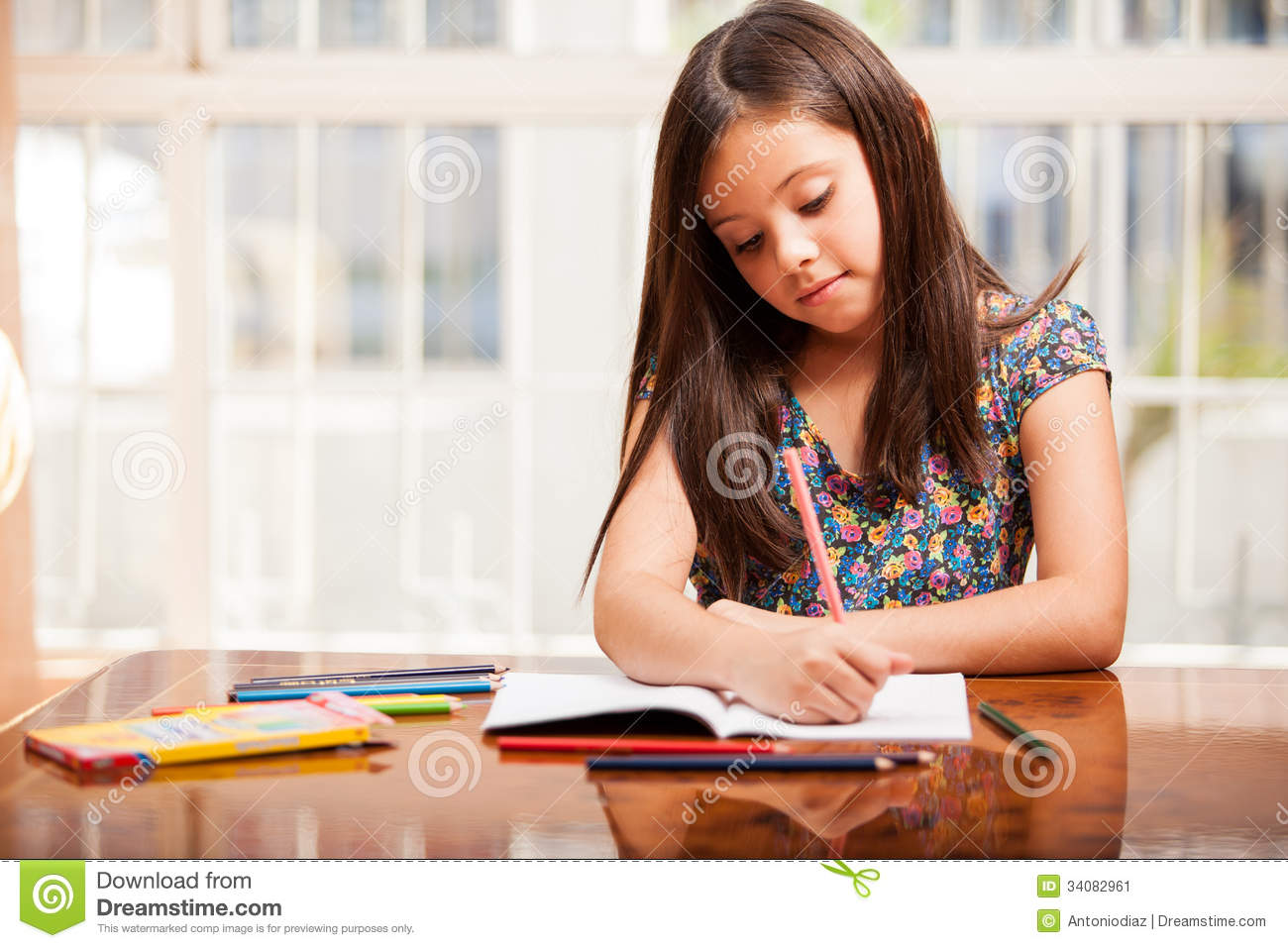 Pretty Girl Doing Some Coloring Stock Image Image 34082961