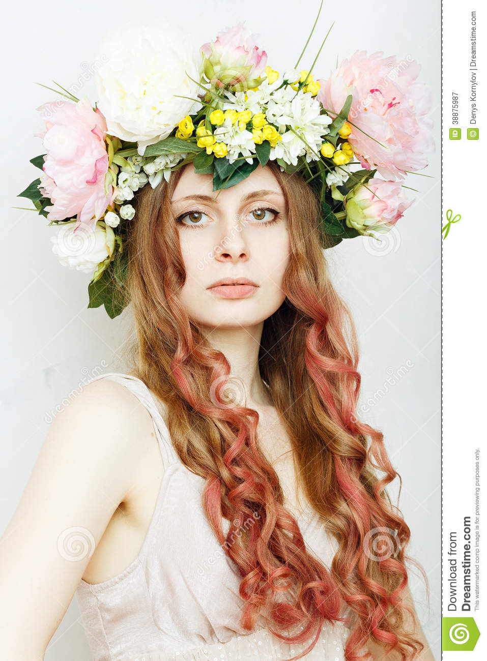 Pretty Girl With Flower Crown On Head Stock Image Image Of Nature
