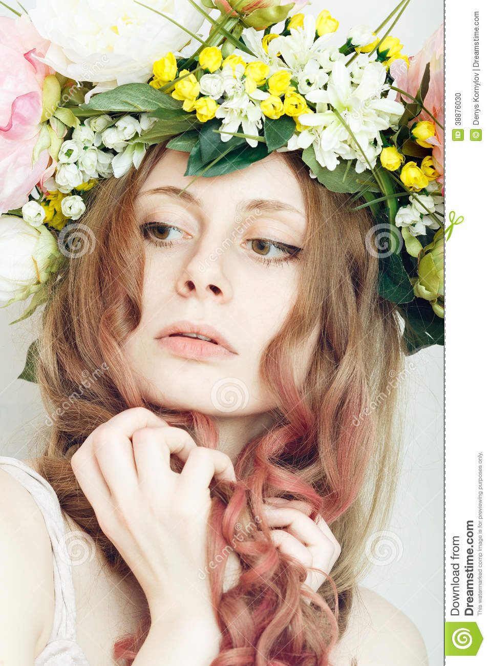 Pretty Girl With Flower Crown On Head Stock Photo Image Of