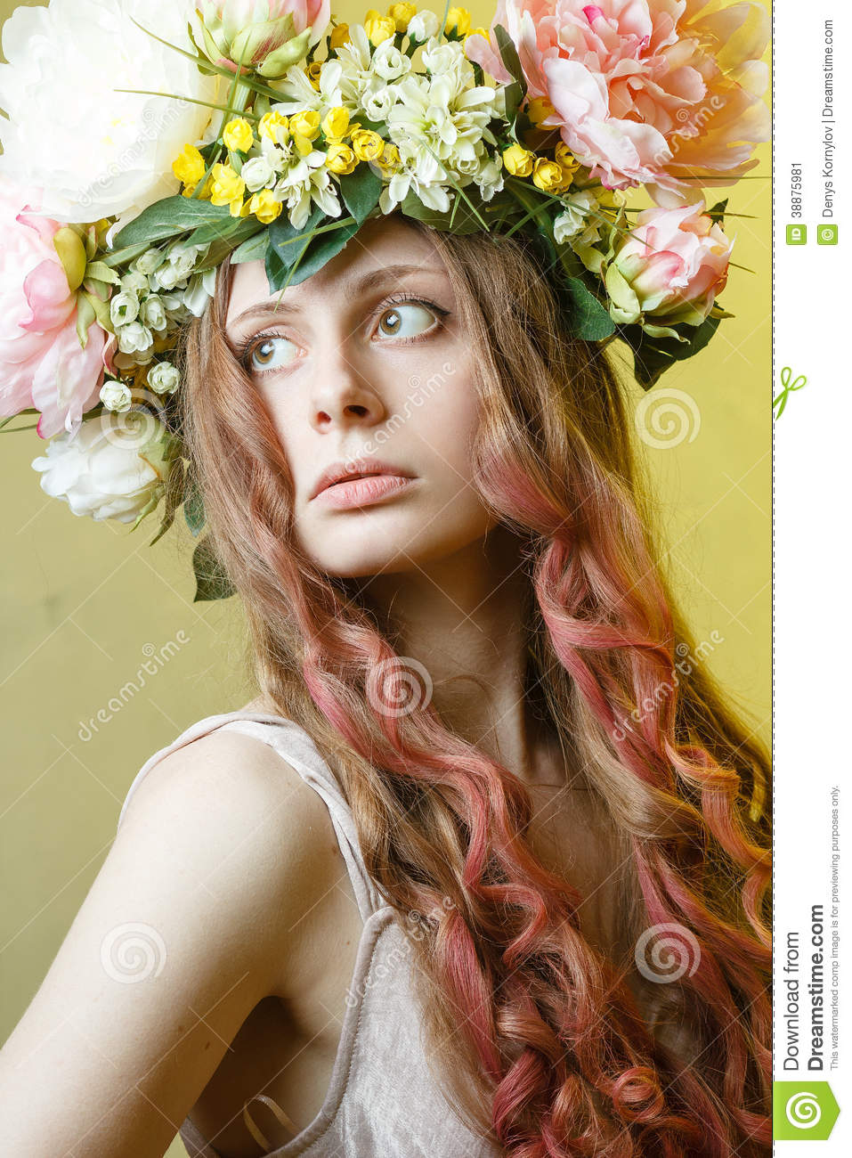 Pretty Girl With Flower Crown On Head Stock Image Image Of