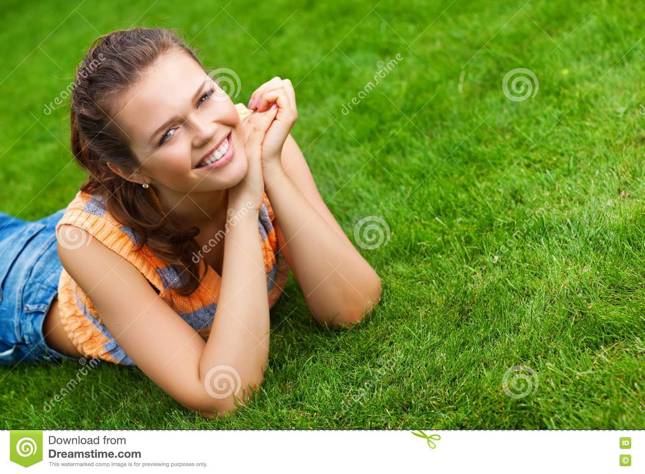 Pretty girl on grass stock image image 15347381 for Pretty grass