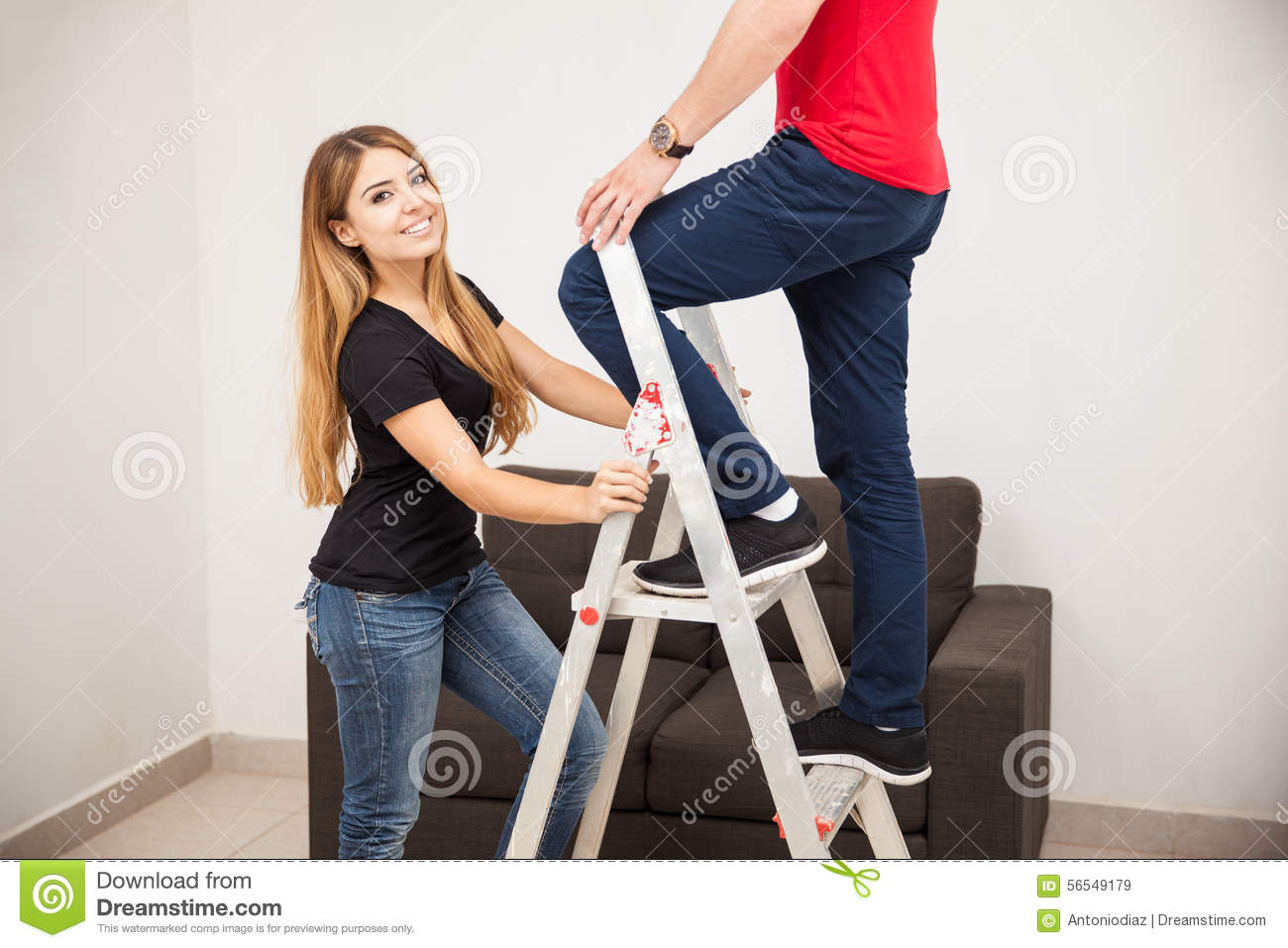 Pretty Girl Holding A Ladder Stock Photo Image 56549179