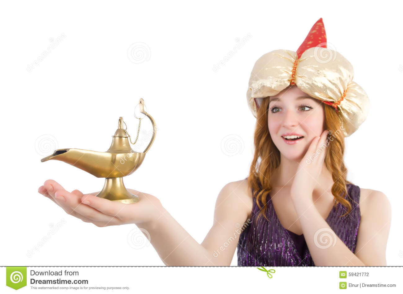 Pretty Girl Holding Magic Lamp Isolated On White Stock Photo ... for Girl Holding Lamp  585hul