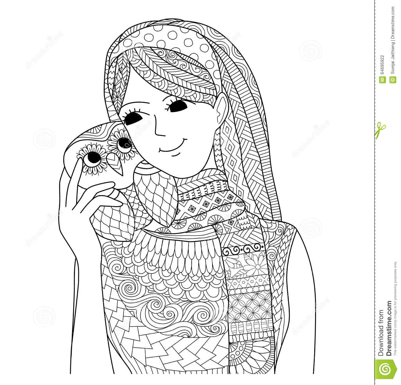 pretty holding an owl zentangle design for coloring book for
