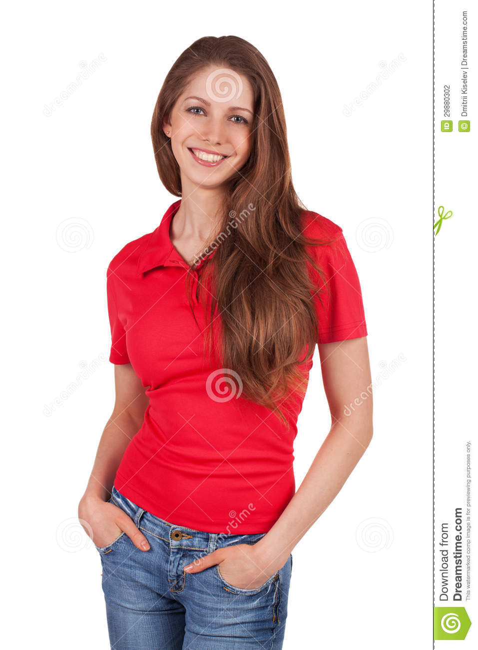 Girl In Jeans And A Red T-shirt Stock Photography - Image 29880302