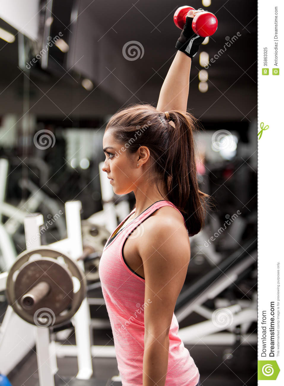 Pretty Girl Lifting Weights Royalty Free Stock Photo ...