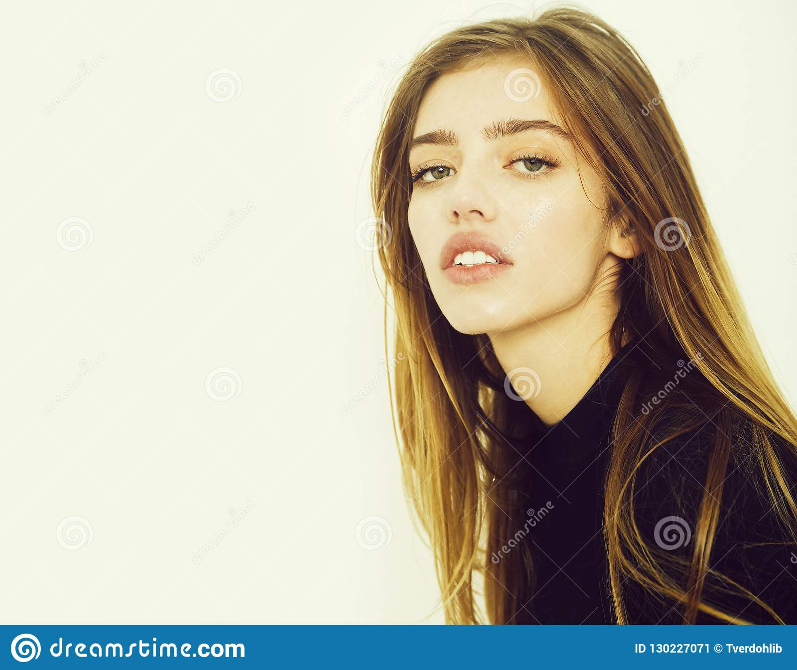 7affb723e8 Pretty Girl With Long Blond Hair In Black Stock Image - Image of ...