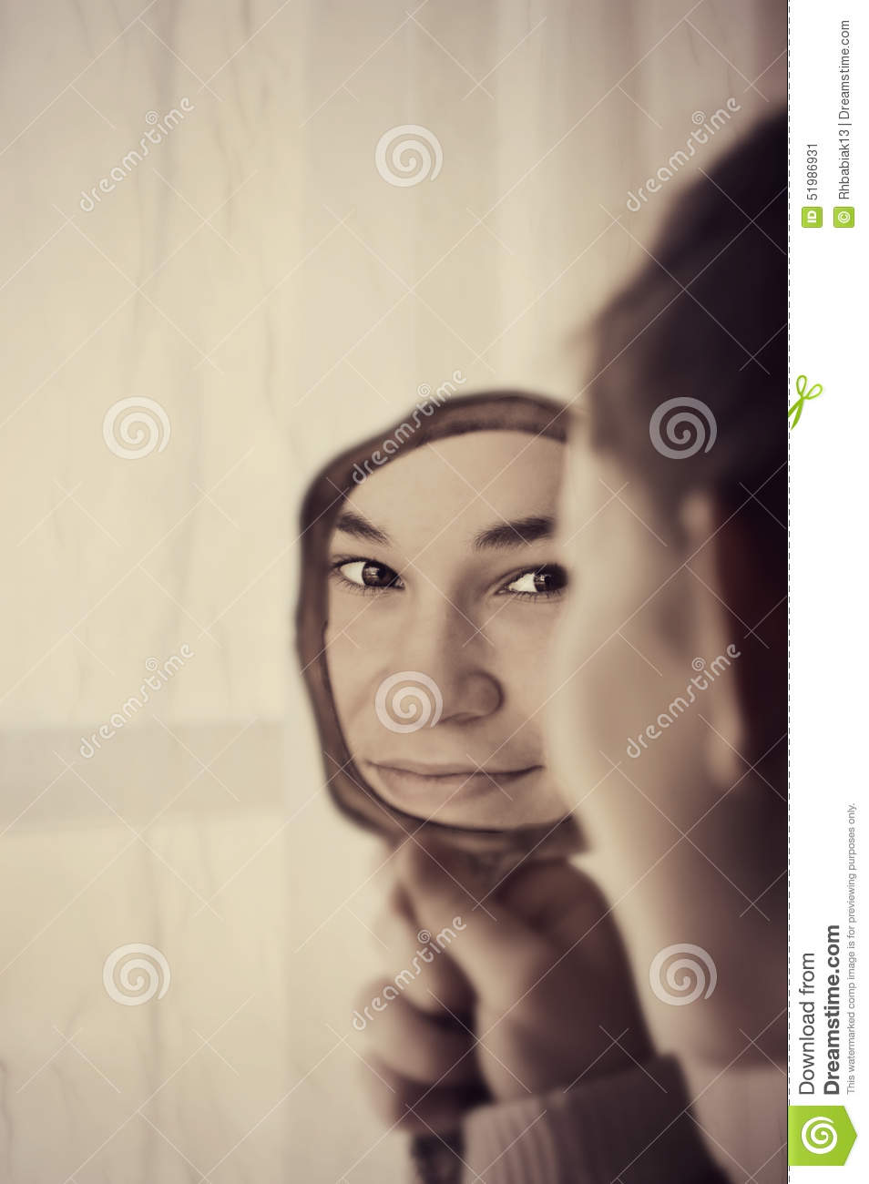 Pretty girl looking in mirror stock photo image 51986931 for Looking mirror