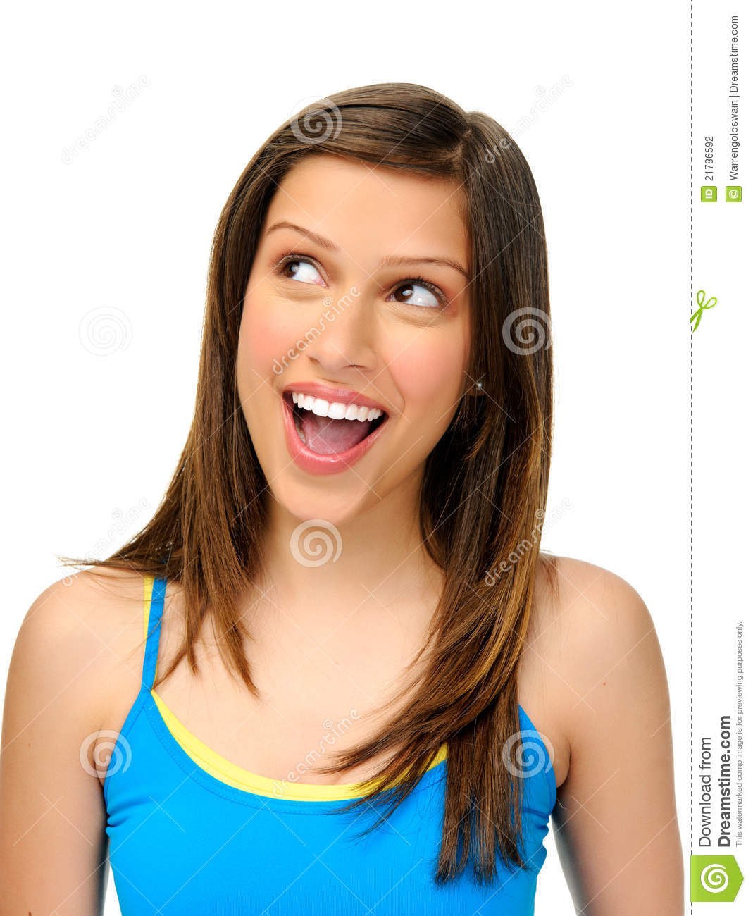 Pretty Girl Looks Up In Excitement Stock Photography ...